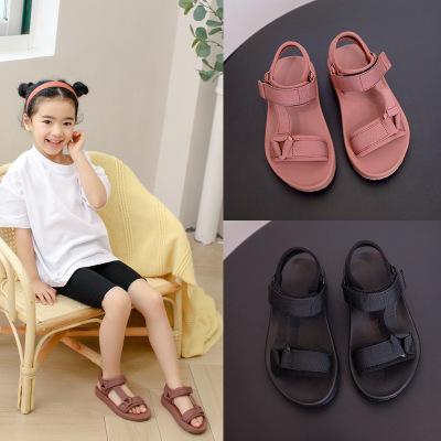 Летняя повседневная детская обувь, модные сандалии на плоской подошве для мальчиков и девочек