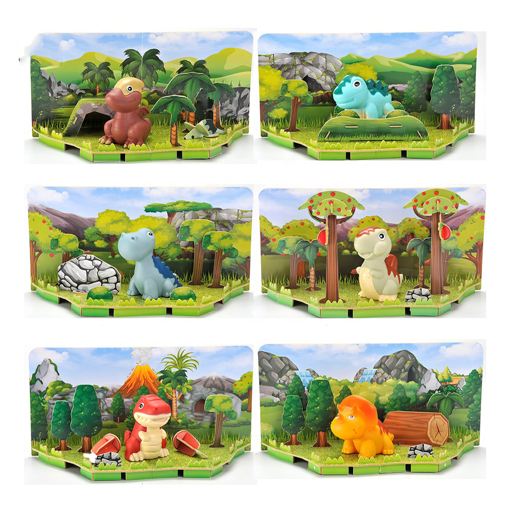 2021 Smart Kids Dinosaur 3d Jigsaw Puzzle Diy Toy, Intelligent Cartoon Tyrannosaurus Rex 3d Puzzle Paper With Tree