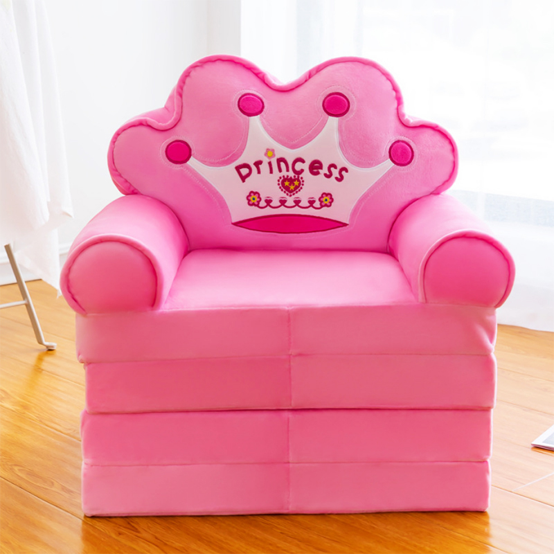Best selling sofa seat pink children kids small sofa ottoman velvet baby plush sofa folding bed