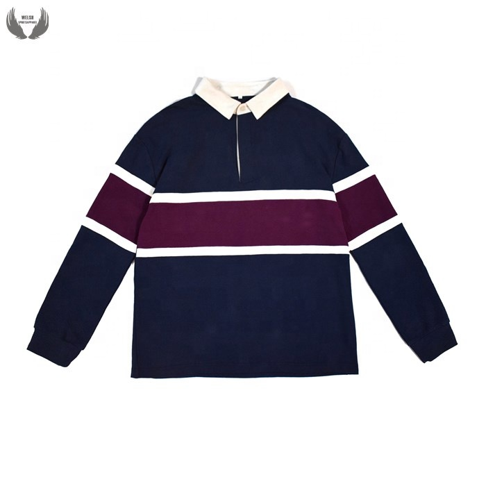 Long sleeves 100% cotton polo rugby shirt customized stripe