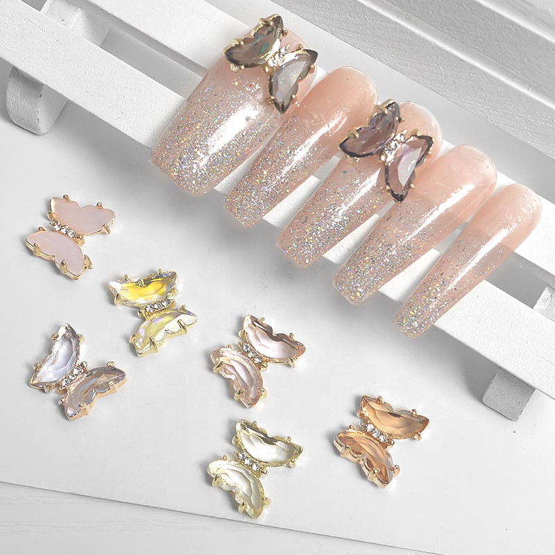 MCMANN nail alloy opal butterfly shining crystal butterfly gem metal nail rhinestone decoration manufacturers sell wholesale