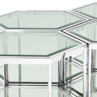 Tables Table Set Modern Nordic Style Hexagon 2 Layers Glass Tables Luxury Stainless Steel Glass Coffee Table Set For Living Room