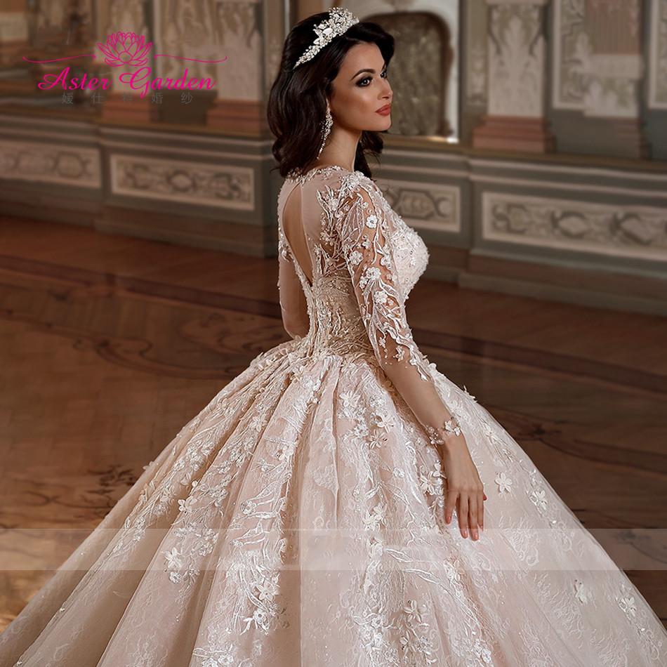 Женское кружевное бальное платье Aster, свадебное платье с длинным рукавом и аппликацией, роскошное свадебное платье для собора, 2021