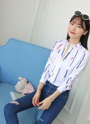 Элегантная рубашка с принтом женские весенние Осенние Топы офисная корейская мода тонкая белая шифоновая блузка Рубашки с длинным рукавом Блузы