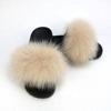 Beige lady fur slipper