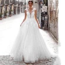 Свадебное платье трапециевидной формы из тюля es 2020, сексуальное Белое пляжное свадебное платье с кружевной аппликацией, плюс размер, свадеб...(Китай)