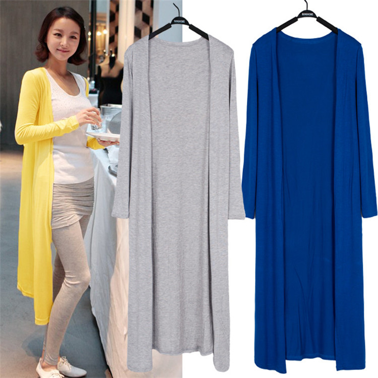 2021 Women's Casual Long Modal Cotton Sweater Cardigan Soft Comfortable Simple Solid Loose Thin Cardigan
