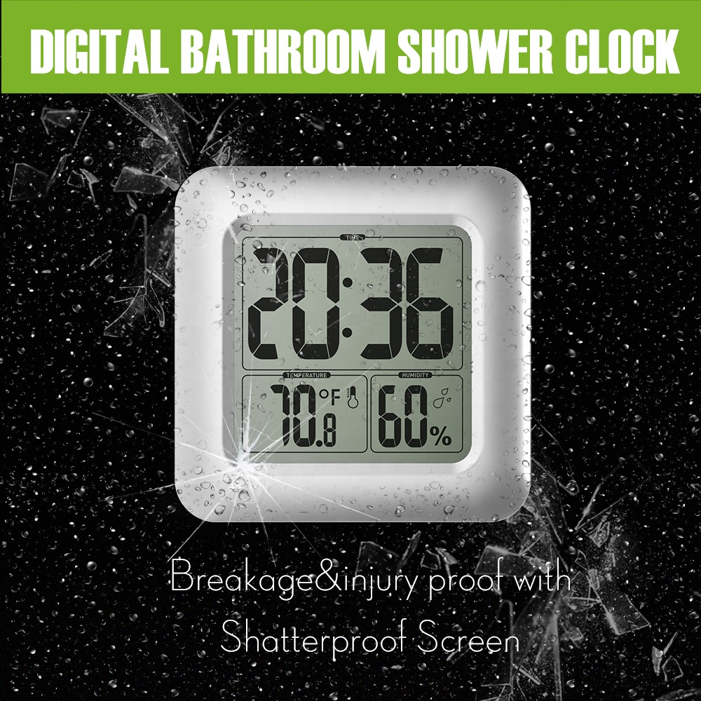 BALRD B0006 Digital Shower Clock Big LCD Waterproof with Temperature Humidity Thermometer for Bathroom Wall Clock