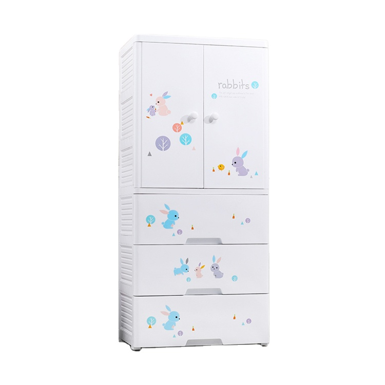 4-layer cartoon printing two doors open with hanging design baby plastic stackable clothes storage cabinet drawers