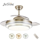 1stshine decorative Acrylic lampshade bldc retractable blades fancy ceiling fan with led light remote control