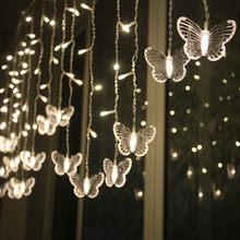 Светодиодная гирлянда с бабочками, водонепроницаемая занавеска для рождественских праздников, Декоративные луковицы, праздничная вечерин...(Китай)