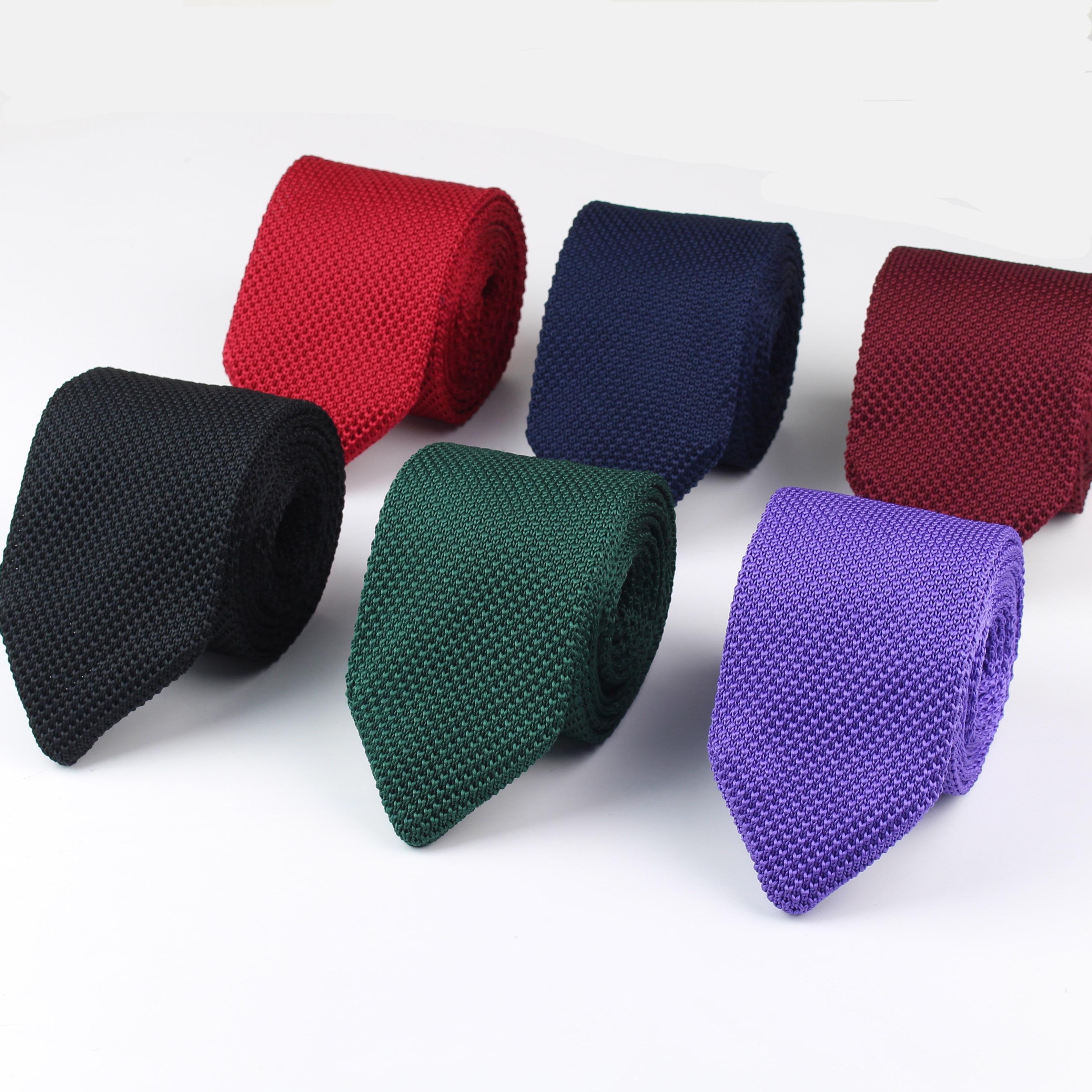 Новые Вязаные Досуг треугольник сплошной цвет Галстуки нормальный острого угла галстуки для мужчин классические Тканные дизайнерские галстук