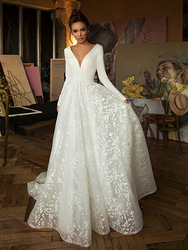 100 Dollar Long Sleeves  Wedding Dress  Deep V Neck  White Lace Wedding Dress
