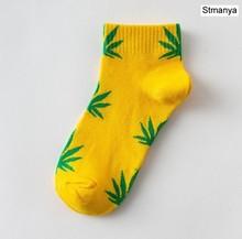 Носки-башмачки унисекс, удобные хлопковые носки с листочками, 30 цветов, весна-осень(Китай)
