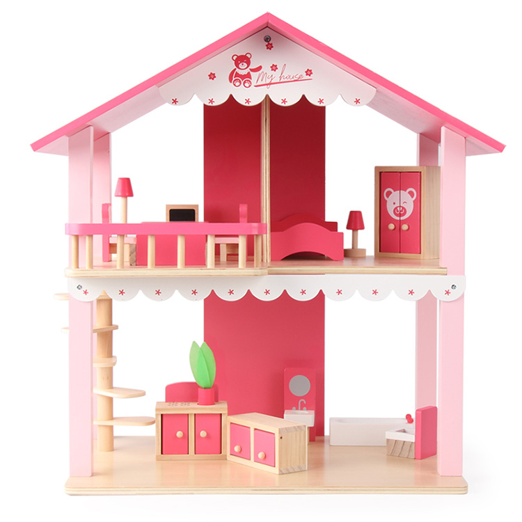 kids mini handmade pink dollhouse and furniture educational wooden toys for girls