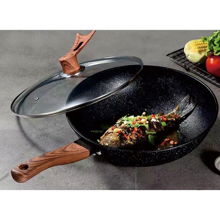 aluminum non-stick cookware set wood handle wok pan