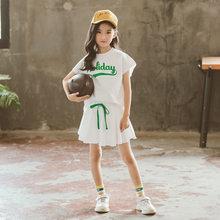 Летний детский спортивный костюм для подростков, комплект одежды для маленьких девочек, хлопковая футболка + штаны с юбкой, большие размеры,...(Китай)