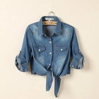 Spring Autumn Fashion Denim Shirt Blouses Ladies Clothing Women Jean Casual Shirts spring clothings for women