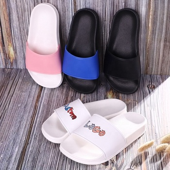 plastic outdoor soft custom logo children slippers, PVC summer beach pink blank children and kids logo slide sandal