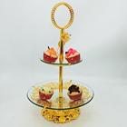 Fashion Table Decoration 2 Tiers Dry Fruit Dish Dry Fruit Plate Glass Fruit Plate