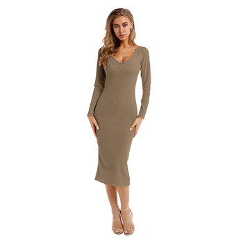 New Look Beautiful Brown Color Off The Shoulder Women's Bodycon Dress