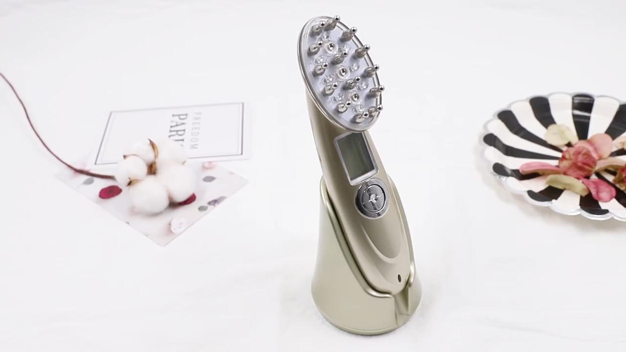 Perdita di capelli Spazzola Laser Photon Microcurrent Funzione di Ricrescita Dei Capelli Pettine di massaggio di vibrazione Stimolare elettrico pettine crescita dei capelli
