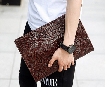 custom crocodile leather men's clutch bag