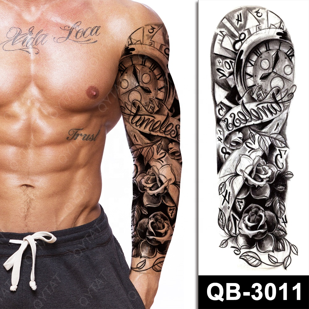 Amazon eBay Shopee Hot Selling Realistic Cool Designs Long Lasting Waterproof Temporary Full Arm Tattoos For Men