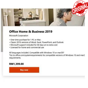 High quality microsoft computer software license office home and business key only 2019