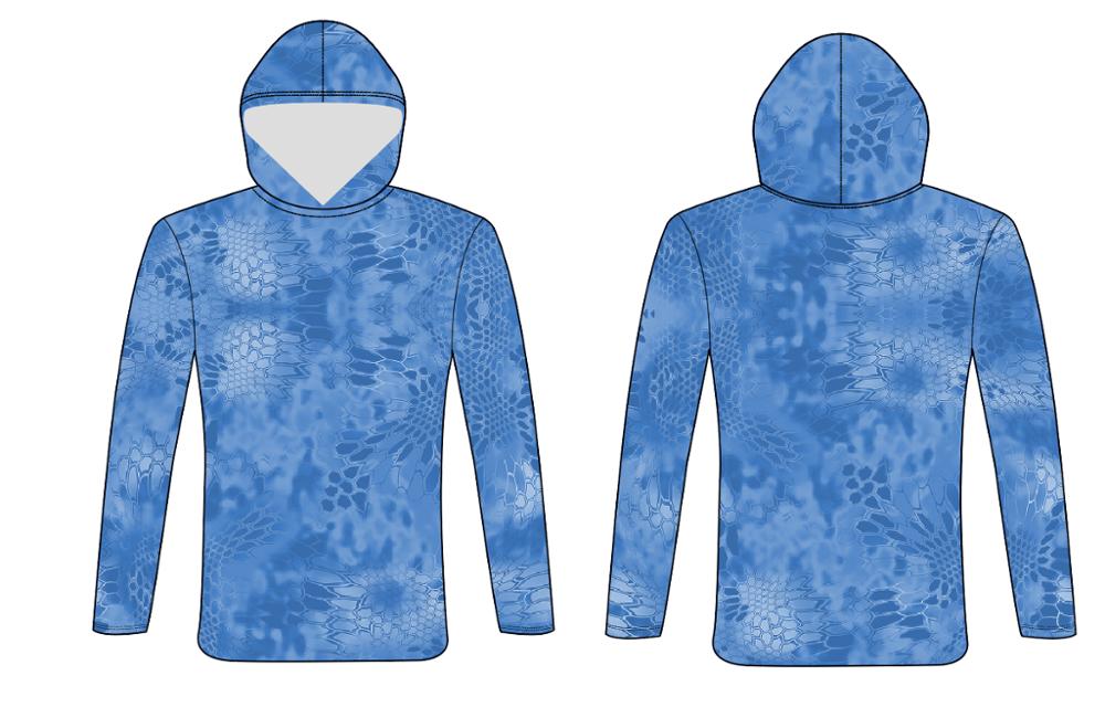 Индивидуальный Камуфляжный синий дизайн kryptek, высокая производительность, защита от солнца, с капюшоном, Джерси для рыбалки