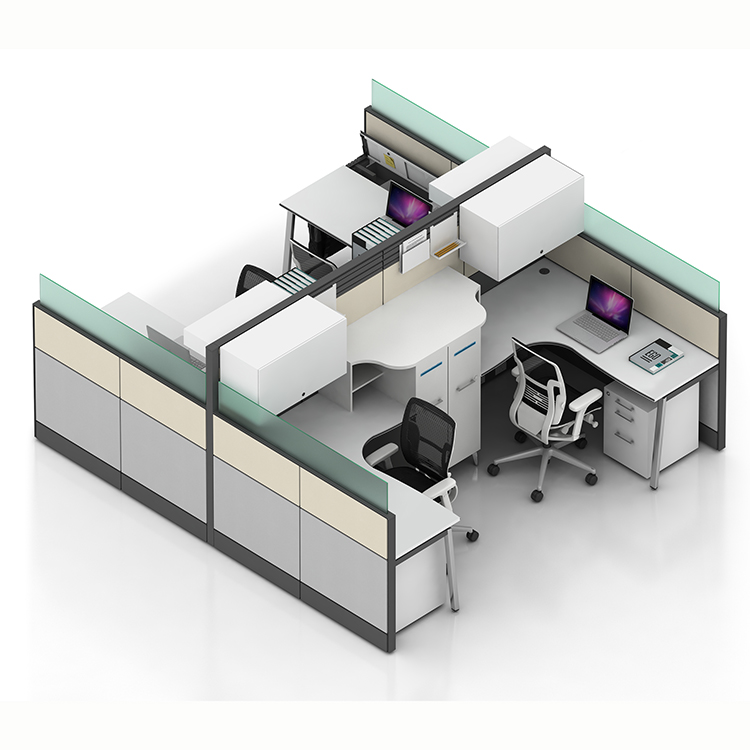 Latest design greenguard customized 4-seater E0 melamine ABS laser edge tabletop tile partition office workstation table