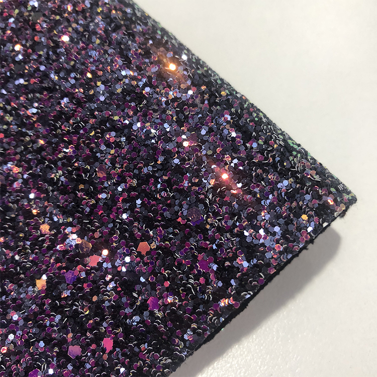 Sparkle Metallic Holographic Grade 3 chunky faux glitter fabric leather for wallpaper handbag shoes decoration