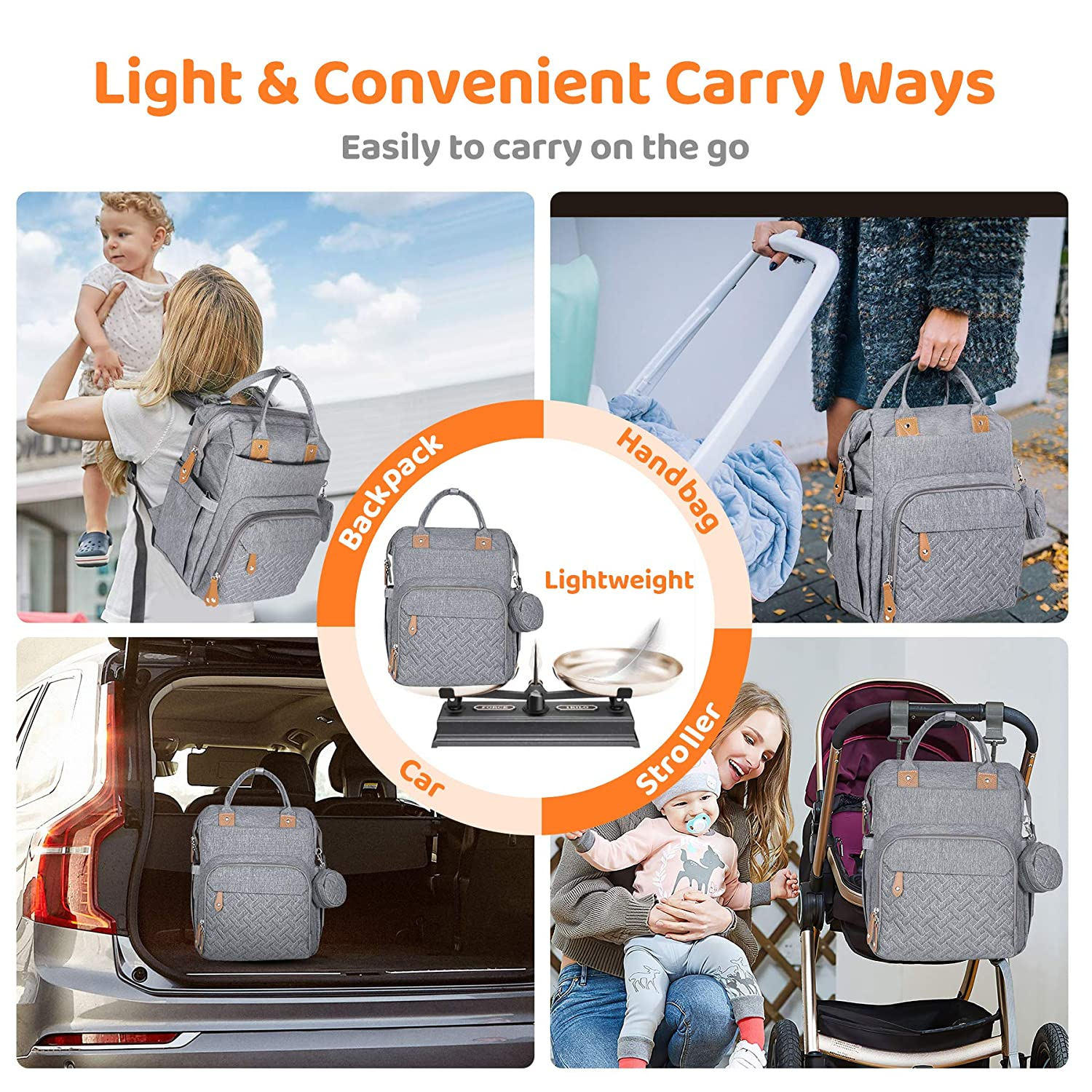 Travel Customized Waterproof Capacity Maternity Mummy Nappy Bags Baby Diaper Bag Backpack Foldable Bed with Changing Station