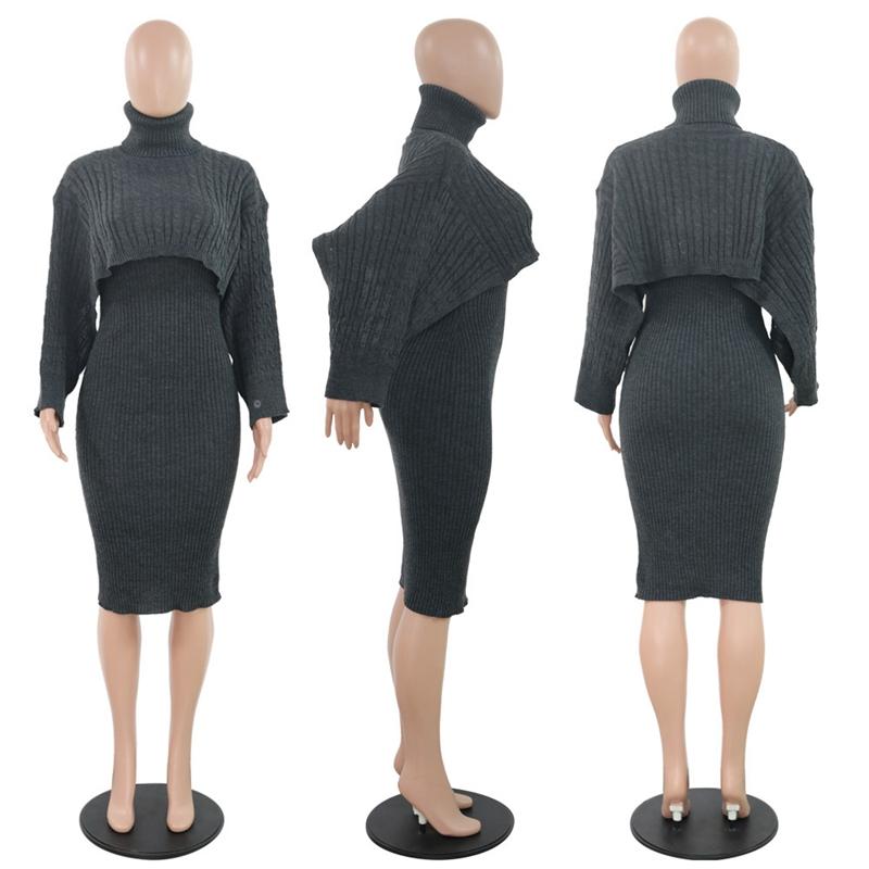 Вязаный свитер с косичками, женский осенне-зимний комплект из двух предметов, вечерние Клубные наряды, водолазка, укороченный топ, элегантн...(Китай)