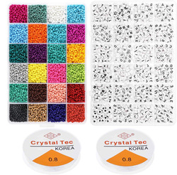 24 colors Plastic Acrylic Pony Seed Beads Kit with Letter Beads Set for DIY Jewelry Making for Kids
