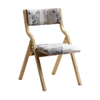 Frame Chair Wooden Frame Linen Fabric Seat And Back Wooden Chair