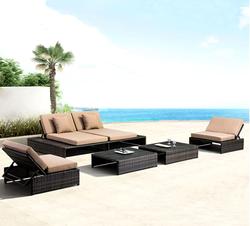 Современный дизайн, плетеная уличная мебель из ротанга, Солнцезащитный лаунж, пляжный бассейн, Набор стульев