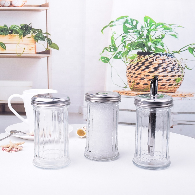 Retro Sugar Shakers, 12 oz - Glass Dispensers & Stainless Steel Lid with Pour Flap Spout