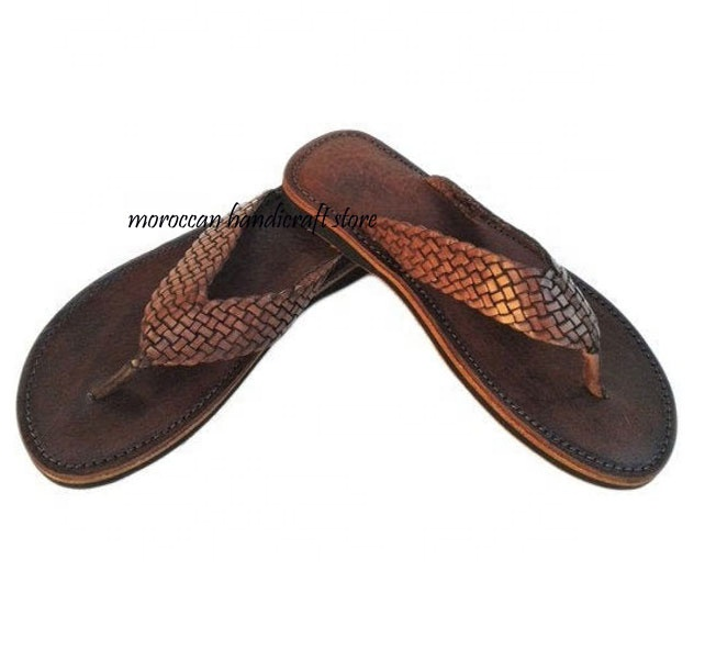 Moroccan Handmade Men/'s Dark Brown Leather Thong Flip Flop Sandals