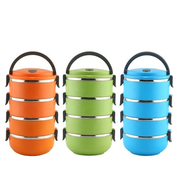4 Layer colored stainless steel tiffin lunch box tiffin food carrier insulated tiffin lunch box with food warm