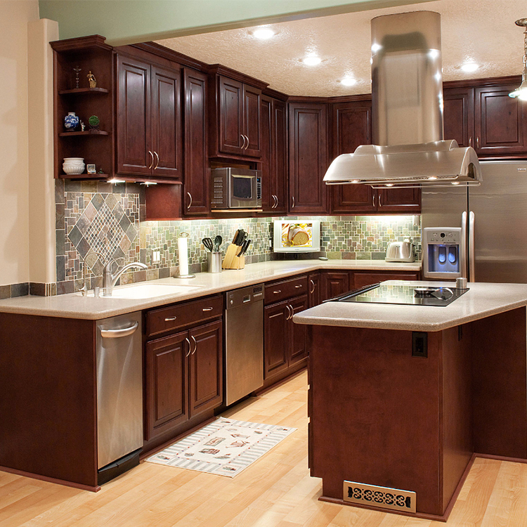 Mahogany American Red Cherry Dark Solid Wood Kitchen Cabinet Buy Product On Alibaba Com