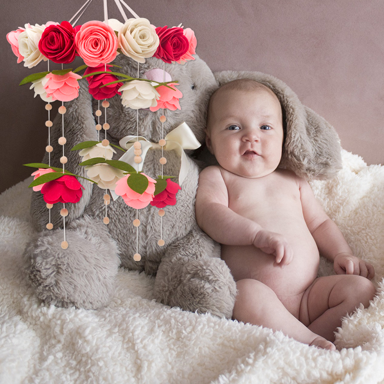 Factory price artificial roseleaf flower handmade felt baby mobile nursery Decor felt flower
