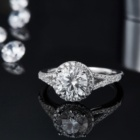 Jewelry Jewellery Silver Abiding Jewelry OEM/ODM Customized Jewellery Wholesale 925 Silver Halo Ring Moissanite Jewelry