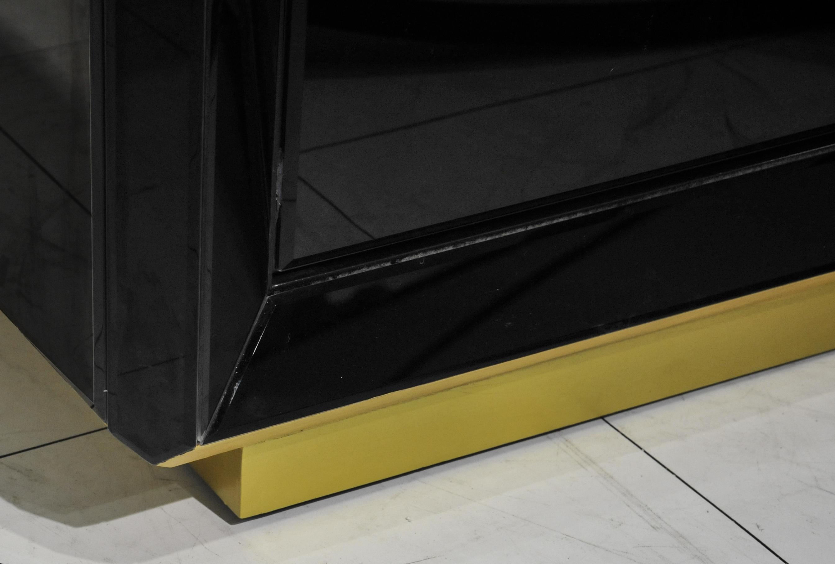 GuanYe, деревянный корпус, черная краска, масляное зеркало, сервант, дверь шкафа с магнитным сенсорным сервантом