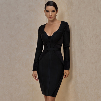2021 new elegant slim fit black long sleeve knee length bandage bodycon evening dresses for women evening cocktail dinner