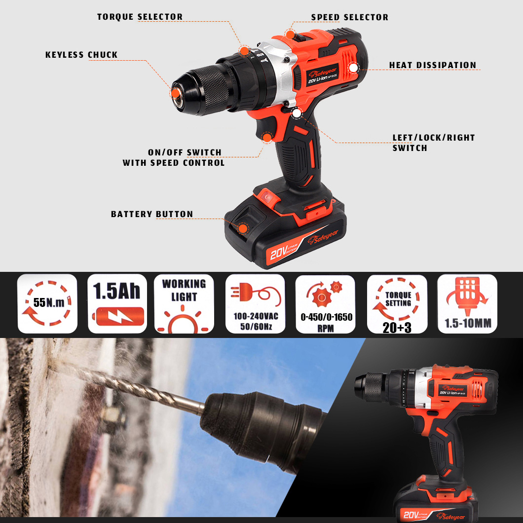 20V 55N.M high quality Impact battery Drill electric screwdriver Tools Cordless Power Hammer Drill
