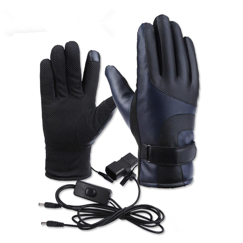 N315 PU Leather 12V-72V Winter Electric Thermal Gloves Heated Gloves Battery Powered Waterproof Motorcycle Gloves