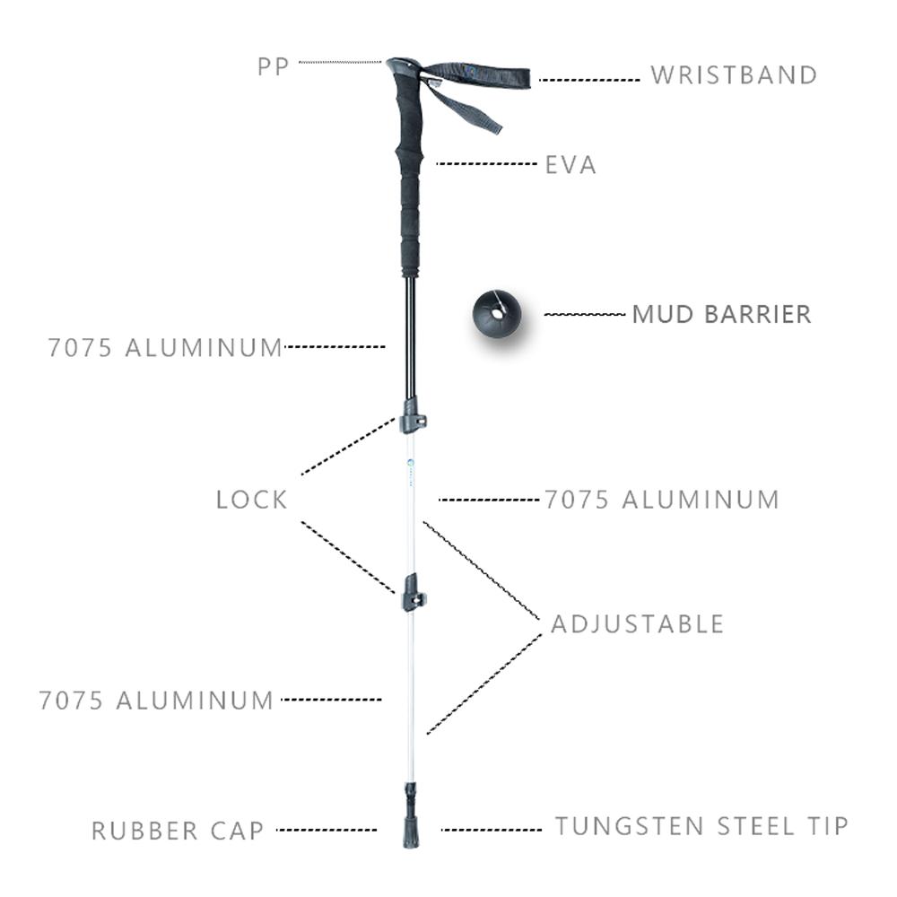 Walking Stick 7075 Aluminum Soft EVA Lightweight 3-section Ultralight Folding Outdoor Sports 63-135cm with High Quality