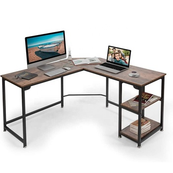 Steel Frame Home Office Furniture Cheap L Shaped Study Table Computer Desk With Shelf