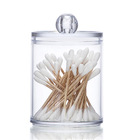 Plastic Cotton Swab Ball Pad Holder, Qtip Jar Clear Makeup Organizer, Bathroom Containers Individual Dispenser